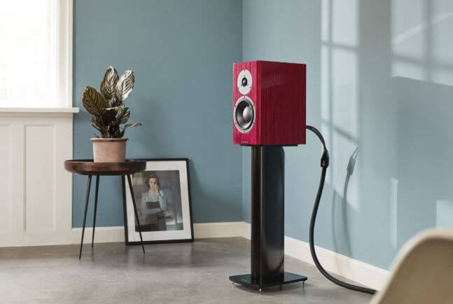 image of the red special 40 speaker by dynaudio