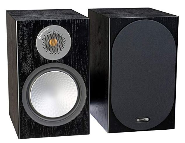 this image shows a pair of Monitor Audio Silver 100 book shelf speakers