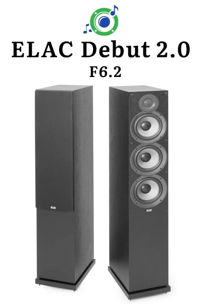 this picture shows the outside of the ELAC Debut 2.0 F6.2 tower speaker